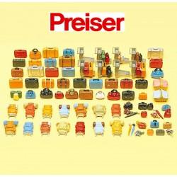 Preiser 17005 - 1/87ème - (90 Pièces) Bagages, Valises Sacs etc - Réseaux HO