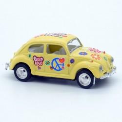 """Volkswagen Coccinelle jaune - Motif """" Peace and Love """" - Kinsmart - 1/64ème Sans boite"""