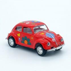 """Volkswagen Coccinelle Rouge - Motif """" Fleur """" - Kinsmart - 1/64ème Sans boite"""