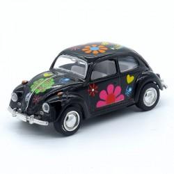 """Volkswagen Coccinelle Noire - Motif """" Fleur """" - Kinsmart - 1/64ème Sans boite"""