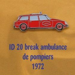 Pin's Citroen ID 20 Break Ambulance de Pompiers 1972