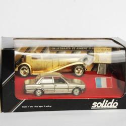 Coffret Rétro RARE - Solido - 2 voitures de France Or et Argent Pur 24 Carats - au 1/43 en boite