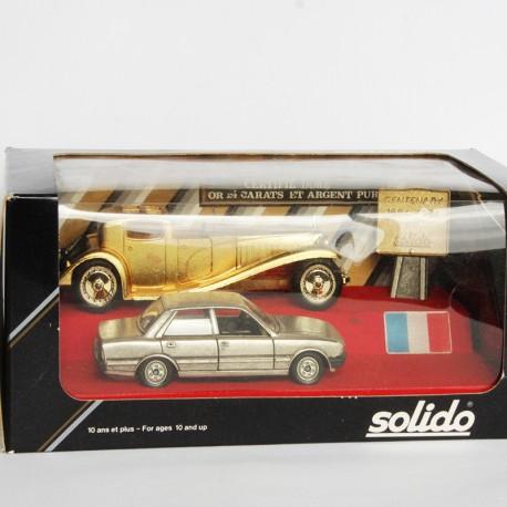 Coffret Rétro RARE Solido 2 voitures Or et Argent Pur 24 Carats - au 1/43 en boite