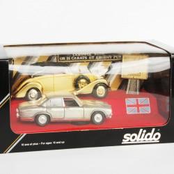 Coffret Rétro RARE - Solido - 2 voitures Anglaise en Or et Argent Pur 24 Carats - au 1/43 en boite