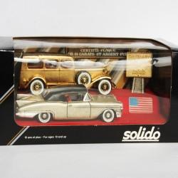Coffret Rétro RARE - Solido - 2 voitures d'Amérique en Or et Argent Pur 24 Carats - au 1/43 en boite