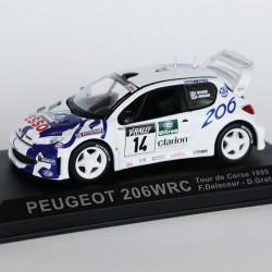 Peugeot 206 WRC Tour de Corse 1999 N°14 - F.Delecour & D.Grataloup- 1/43 en boite