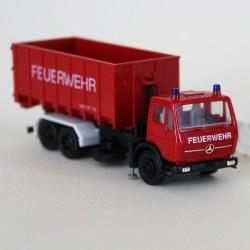 Camion Benne Mercedes Pompier - Herpa - 1/87eme - en boite