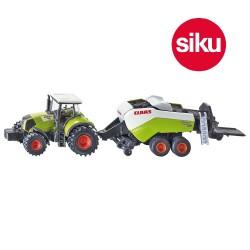 "Tracteur "" Claas "" avec Presse à Ballots Siku - 1/87 En boite"