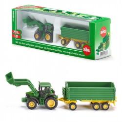 Tracteur avec Chargeur Frontal et Remorque Siku - 1/87 En boite