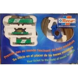wagon plat Roco transport matériel de chantier pelleteuse