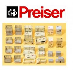 Preiser - 1/87 - Palettes grillagées' caisses de transport et divers chargements pour HO - Ref 17110