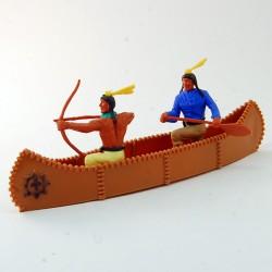 Pirogue avec des indiens - Timpo Toys - 5,2 cm de hauteur