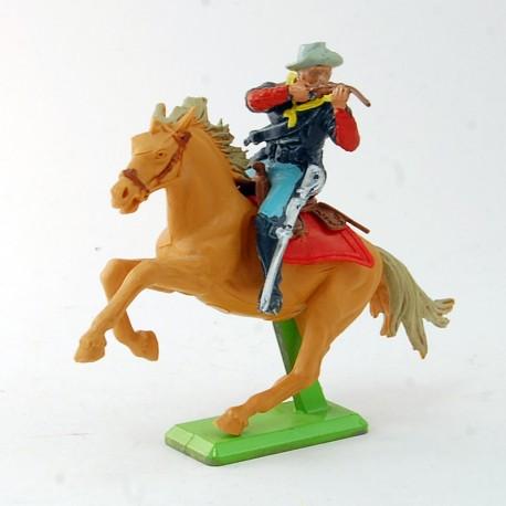 Cowboy à cheval prés à tirer - Britains - 8 cm