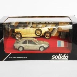 Coffret Rétro RARE - Solido - 2 voitures Française en Or et Argent Pur 24 Carats - au 1/43 en boite